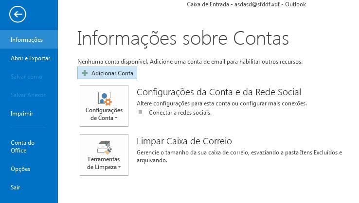 Configuração email Outlook 2013