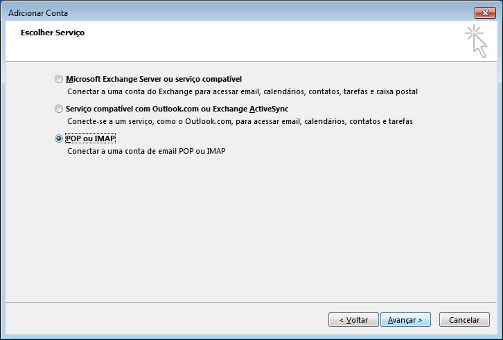 Configuração email Outlook 2013 - 3 ecrã